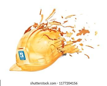 Safety concept. Broken helmet with flying fragments. 3d illustration