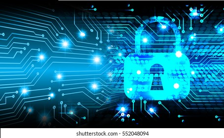 Safety concept, Closed Padlock on digital, cyber security, Blue abstract hi speed internet technology background illustration. key.