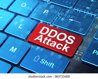 Safety concept: DDOS Attack on computer keyboard background