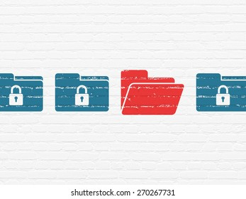 Safety concept: row of Painted blue folder with lock icons around red folder icon on White Brick wall background, 3d render