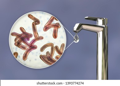 Safety of drinking water concept, 3D illustration showing bacteria Vibrio cholerae, the causative agent of cholera disease, contaminating drinking water