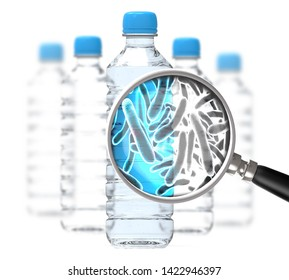 Safety of drinking water concept 3D illustration showing bottles with water and closeup view of microbes transported by water