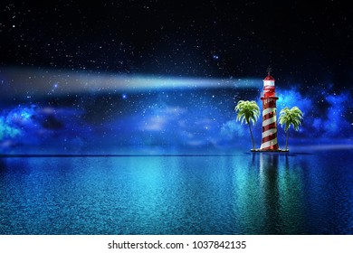 Safety and hope concept, a lighthouse on a tropical island on the ocean with a beam of light in the night sky with stars, 3d illustration