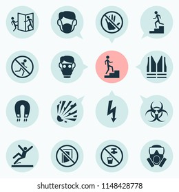 Safety icons set with not running, keep door closed, strong magnetic field and other electromagnetic elements. Isolated  illustration safety icons.