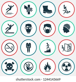Safety icons set with respirator, beware of opening door, electrocution hazard and other defense elements. Isolated  illustration safety icons.