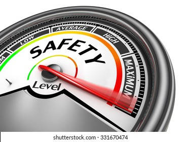 Safety level to maximum concept meter, isolated on white background