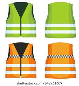 Safety road vest, waistcoat with reflective stripes set. Vest jacket fot work on road illustration