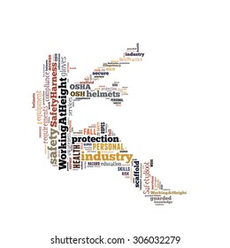 Safety at workplace conceptual emphasis on working at height, presented in word cloud.