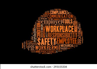 Safety at workplace conceptual presented in word cloud