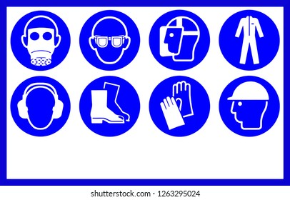 Safety workwear and equipment . Mandatory workplace signs, with copy space.