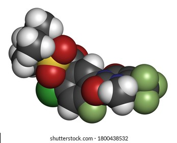 Saflufenacil herbicide molecule. 3D rendering. Atoms are represented as spheres with conventional color coding: hydrogen (white), carbon (grey), nitrogen (blue), oxygen (red), etc