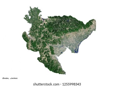 Saga, Japan Map (3D illustration)