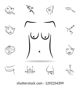 sagging breasts icon. Detailed set of anti-aging procedure icons. Premium graphic design. One of the collection icons for websites, web design, mobile app