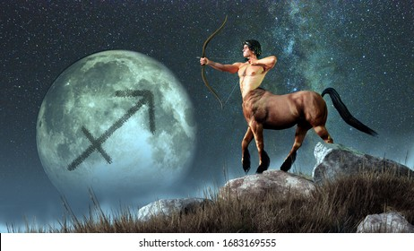 Sagittarius, the centaur archer, is the sixth sign of the Zodiac. People born between November 22nd and December 21 have this astrological sign. 3D rendering