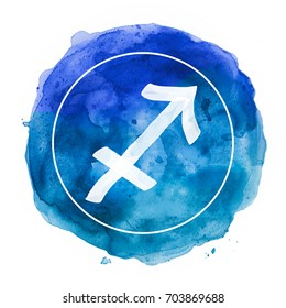 sagittarius zodiac sign on watercolor background
