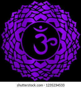 sahasrara chakra energy meditation yoga hindu metallic illustration