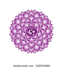 sahasrara chakra icon symbol purple esoteric yoga indian buddhism hinduism raster copy.