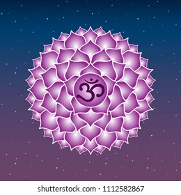sahasrara chakra icon symbol purple esoteric yoga indian buddhism hinduism blue and purple sky star raster copy.