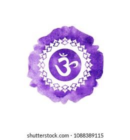 Sahasrara chakra watercolor design illustration.