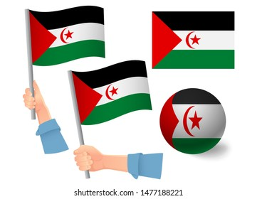 Sahrawi Arab Democratic Republic flag in hand set. Ball flag. National flag of Sahrawi Arab Democratic Republic  illustration