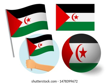 Sahrawi Arab Democratic Republic flag icon set. National flag of Sahrawi Arab Democratic Republic  illustration