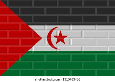 Sahrawi Arab Democratic Republic painted flag. Patriotic brick flag illustration background. National flag of Sahrawi Arab Democratic Republic