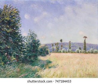 Sahurs Meadows in Morning Sun, by Alfred Sisley, 1894, French impressionist painting, oil on canvas. Sisley spent the summer of 1894 at the estate of his friend and patron, Francois Depeaux, wealthy