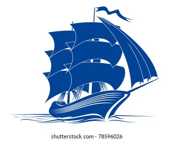 Sail ship in ocean water for travel or another design, such a logo. Vector version also available in gallery