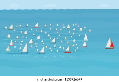 Sailboat ahead of the Competition, Winning, Leaving the Crowd behind, Illustration, Winning, Development, Planning, Management, Team work, Ahead of the Rest, One Step Ahead, Business Strategy Concept