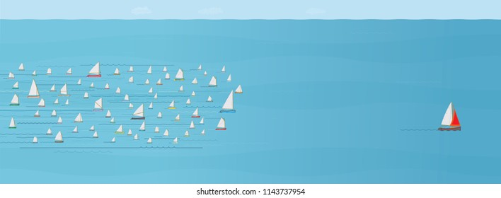 Sailboat ahead of the Competition, Winning, Leaving the Crowd behind, Illustration, Winning, Development, Planning, Management, Team work, Ahead of the Rest, One Step Ahead, First Place Concept, Win