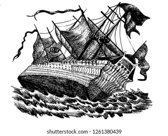 Sailboat, black and white image of old ship in the technique of engraving.  Can be used to illustrate books, articles on the marine theme.