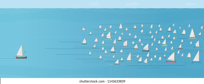 Sailboat Falling behind the Fleet, Trying to Catch up, Strategy Concept, Nautical, Illustration, Sailboats, Winning & Losing, Leadership, Coming in Last, Flotilla of Small Sailboats, Behind the Crowd