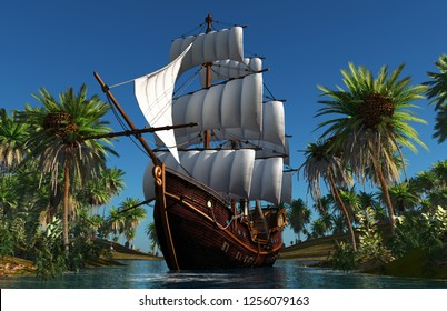 Sailboat in the lagoon of the island green. 3d render