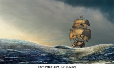 Sailboat on the dramatic open sea under the golden sunshine. 3D render illustration with digital painting postprocess.