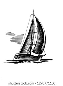 Sailboat sketch, isolated and stylized waves. A sea single-masted yacht floats on the surface of the water.