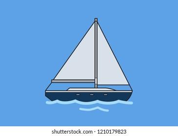 Sailboat, skipjack. Flat illustration. Isolated on blue background Raster version.