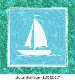 Sailboat Swims across the Ocean, River or Lake, White Silhouette on Abstract Blue and Green Background with Rings and Square Frame.