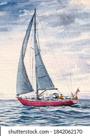 Sailboat with white sail. Sailing or Yachting sport. Private boat. Beautiful ocean seascape. Watercolor Painting.