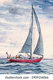Sailboat with white sail. Sailing or Yachting sport. Private boat. Beautiful ocean seascape. Watercolor painting. Acrylic drawing art.