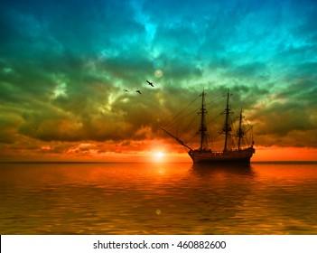 Sailboats against sunset landscape. 3D illustration.