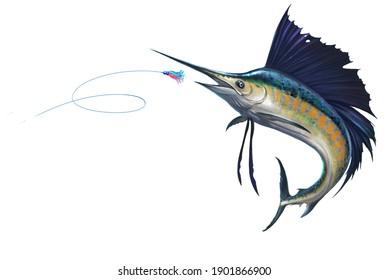 Sailfish attack Bait Sea Swim Squids. Marlin sail fish isolate realistic illustration. Fish sword in a jumping fish sailboat.