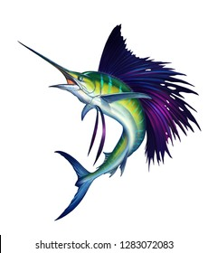 Sailfish fish on white. Striped big marlin. Sports fishing in the open sea. Realistic isolated illustration.