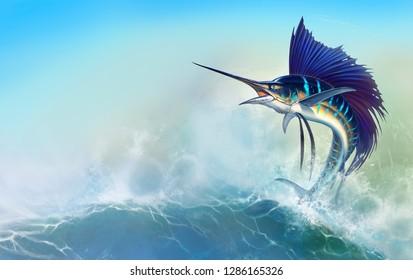 Sailfish fish on white. Striped big marlin. Sports fishing in the open sea
