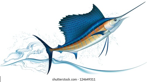 Sailfish jumping out of water. Raster. Check my portfolio for a vector version.
