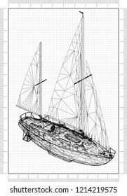 Sailing boat architect Blueprint
