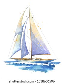 Sailing boat, hand painted watercolor illustration