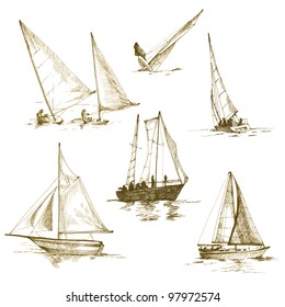 "sailing collection - drawing a black marker - vintage ""sepia"" haze"