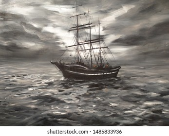 Sailing pirate ship over voyage