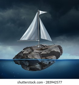 Sailing problem as a business concept with a sail on a floating heavy rock or boulder moving across the ocean as a potential metaphor for struggle and the power of possibility.