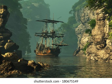 a sailing ship of the 16th Century anchored between high rocks in shallow waters, 3d computer graphics